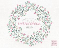 Watercolor wreath: PNG floral clip art / Wedding invitation clip art / delicate branches / commercial use / Pink and teal CM0084c by LisaGlanzGraphics on Etsy