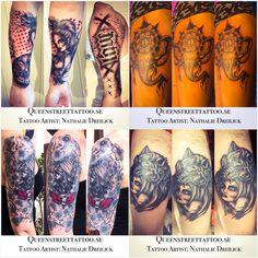 Some of my work lately ⚡️ <-- Tattoo Artist Nathalie Dreilick @ #Queenstreettattoo #drottninggatan   146 #helsingborg #sweden www.nathaliedreilick.se www.queenstreettattoo.se  besökstid för att boka/konsultation/visa din tattoo är endast tisdagar & torsdagar kl18.00-19.00 (juli&augusti endast tisdagar)  visiting hours Tuesday & Thursday between   kl18.00-19.00. #tattoo #tattoogirl #tattooartist  #wolf #mandala #elephant #flower #girl #mask #trashpolka #flower