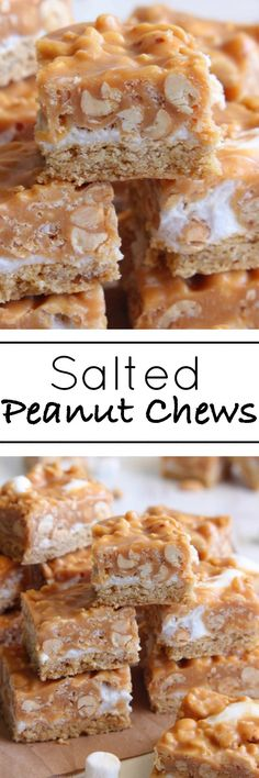 Salted Peanut Chews - Chewy cookie base, marshmallow filling and caramel peanut topping.