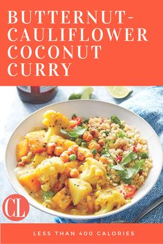 A range of textures—crunchy peas, tender vegetables, and silky coconut broth—makes this cool-weather main incredibly satisfying. Butternut-Cauliflower Coconut Curry goes great with Cilantro-Chile Couscous. | Cooking Light