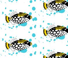 Clown Triggerfish Blue Spatter fabric by squidinkdesigns on Spoonflower - custom fabric
