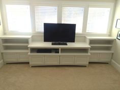 Built in shelves created for a playroom in Charleston. A great place to store TV accessories and DVDs, as well as toys. Built In Shelves, Built Ins, Tv Accessories, Custom Shelving, Shelving Units, Entertainment Centers, Great Places, Charleston, Bookshelves