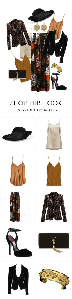 """Velvet, Silk and Gold"" by farradaymg ❤ liked on Polyvore featuring Philip Treacy, FABIANA FILIPPI, Mes Demoiselles..., Chloé, Roberto Cavalli, Gucci, Yves Saint Laurent, Armani Collezioni, Annette Ferdinandsen and gold"