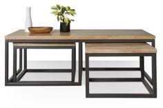 Swoon Editions Coffee table set, industrial style in Mango Wood and Charcoal - just £249