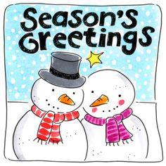 Twee sneeuwpoppen met sjaals om- Greetz