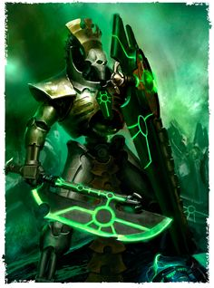 The Necron Lychguard are the elite protectors and emissaries of the Necron nobility. In order to serve as a bulwark against those who would harm their charge, Lychguards were gifted with the highest quality of living metal bodies, equal in resilience and power to those inhabited by the Lords and Overlords they protect. In addition to serving as wardens, Lychguards often act as messengers and envoys for their masters.