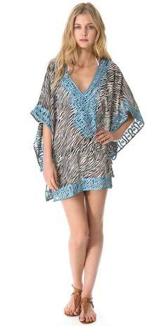 Thayer Sunshine Cover Up Dress. Bound/embroidered edges help a print pop. Zebra Print, Bathing Suits, Beachwear, Sunshine, Cover Up, Chiffon, Bohemian, Kaftans, Fabric