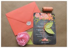 Adorable wedding invitation DIY. Adding to the floral invitation with baker's twine and leaf cutouts, this bridal DIY project adds extra flair to your wedding invitation.
