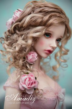 Natural angora goat custom wig. Available for order.  Luxury hairstyle of lush blonde curls with five beautiful roses. Flowers are removable.