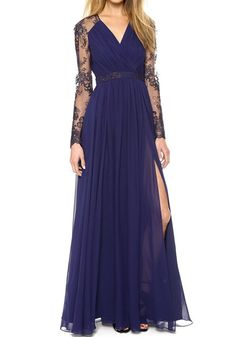 Dark Blue Patchwork Lace Chiffon Maxi Dress