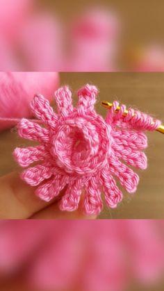 Crochet Butterfly Free Pattern, Crochet Flower Tutorial, Crochet Flower Patterns, Crochet Flowers, Crochet Puff Flower, Crochet Bows, Knit Or Crochet, Crochet Motif, Crochet Stitches