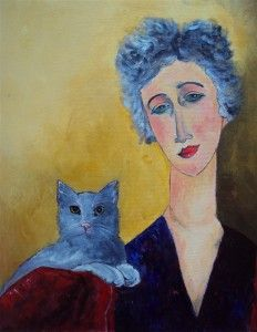Grey haired Woman with Cat by Teresa Tanner