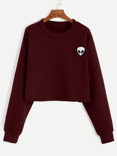 To find out about the Alien Embroidered Crop Sweatshirt at SHEIN, part of our latest Sweatshirts ready to shop online today! Graphic Long Sleeve Shirts, Red Long Sleeve Shirt, Red Long Sleeve Tops, Embroidered Sweatshirts, Crop Shirt, Sweat Shirt, Grunge Outfits, Mode Style, Cute Outfits