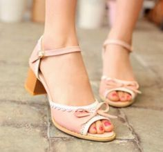 2015 women new fashion spring summer sweet bow 5cm high thick heels open toe sandals buckle shoes large plus size 40-43