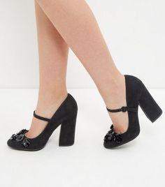 Black Floral Embellished Court Shoes