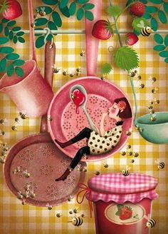 Love Marie Desbons's illustration works so much! Art And Illustration, Food Illustrations, Art Fantaisiste, Art Mignon, Arte Sketchbook, Kitchen Art, Whimsical Art, Cute Art, Food Art