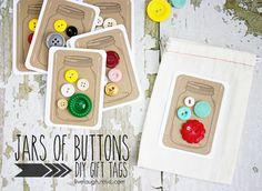 Jars of buttons DIY gift tags.  FREE Mason Jar Printable with livelaughrowe.com