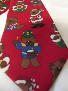 Vintage Men's Necktie  Christmas Bears  Save The