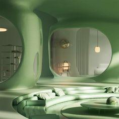 Organic Architecture, Interior Architecture, Interior And Exterior, Retro Interior Design, Appartement Design, Futuristic Interior, Dream Home Design, Retro Futurism, Dream Rooms