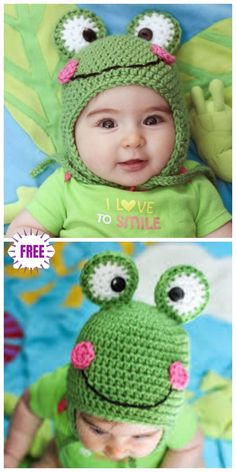 Captivating All About Crochet Ideas. Awe Inspiring All About Crochet Ideas. Crochet Animal Hats, Crochet Baby Hat Patterns, Crochet Kids Hats, Knitted Animals, Knitted Hats, Knitting Patterns, Crochet Frog, Cute Crochet, Crochet Baby Blanket Beginner