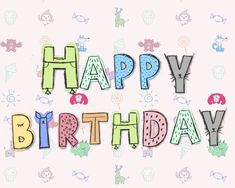 Happy Birthday Kids, Cartoon Letters, Happy D, Children Images, Public Domain, Cute Cartoon, Free Stock Photos, Announcement, Birthday Cards