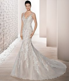 a97ac5ae3257 Demetrios 2017 Style 682 Striking lace and Tulle combine to create this  stunning sleeveless fit