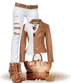 Absolutely love....especially the white distressed skinnies and the tan leather jacket.
