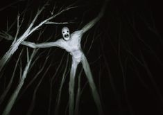 A white tall, skinny humanoid that is in the forest with trees. Its eyes seem to be the same size. His mouth is widely opened like it has an expression that he is shocked. He also has elongated arms and legs. Trees in a forest. Scary Photos, Creepy Images, Creepy Pictures, Arte Horror, Horror Art, Halloween Sounds, Monster Pictures, Espanto, Flipper