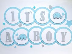 Excited to share the latest addition to my #etsy shop: Elephant Boy Baby Shower Banner Decorations Baby Boy 1st Birthday Bunting Welcome Baby Blue Gray Elephant Its a Boy Banner Oh Boy Garland