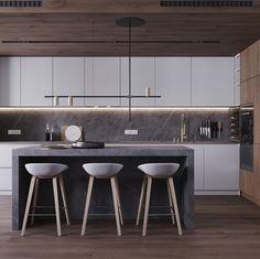 "Design.Only on Instagram: ""Kitchen Design by KYDE Architects | @kyde_architects in Kyiv,Ukraine.(2019) ___________________________________________ •#Design_Only•…"" Tall Kitchen Cabinets, Kitchen Tile, Kitchen Cabinet Design, Modern Kitchen Design, Kitchen And Bath, Kitchen Interior, New Kitchen, Kitchen Decor, Space Kitchen"