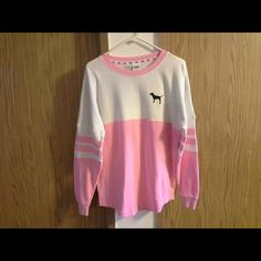 Pink crew Pink crew.  Size small. It is in perfect condition. I got this from another Posher. It is to small for me. I need a medium. This is called a bubblegum color and is a HTF.   FIRM ON PRICE  NO HOLDS  NO TRADES PINK Victoria's Secret Sweaters Crew & Scoop Necks