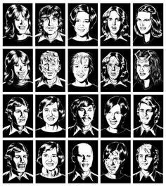 """Charles Burns: galería de teenagers mutantes de """"Black Hole"""" (publicado en doce entregas entre mediados de los 1990 y 2005, creo)."""