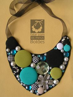 "Exclusive fabric covered buttons necklace made by ""falar com os meus botões"". Visit us on Facebook!"