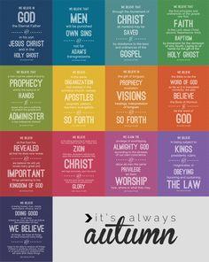 It's Always Autumn:  LDS Articles of Faith Printables