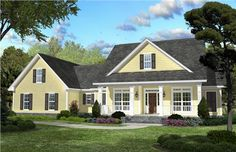 This lovely country style home with Southern influences (House Plan #142-1042) has over 2100 square feet of living space. The 1 1/2 story floor plan includes 3 bedrooms.