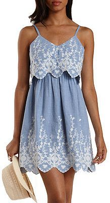 Embroidered Chambray Flounce Dress - dress for apple bodyshape