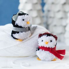 Dec 2017 - How adorable are these pom-pom gnome ornaments? Based on traditional Scandinavian and Nordic folklore, you'll fall in love with these little characters. Noel Christmas, Diy Christmas Gifts, Holiday Crafts, Christmas Ornaments, Pom Pom Crafts, Yarn Crafts, Felt Crafts, Penguin Ornaments, Gnome Ornaments