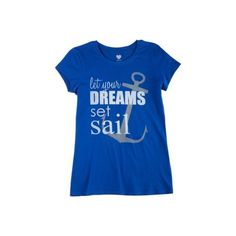 2 Kewl Juniors Let Your Dreams Set Sail T-Shirt ($12) ❤ liked on Polyvore featuring tops, t-shirts, blue, nautical tops, anchor t shirt, crew t shirt, screen print t shirts and crew-neck tee