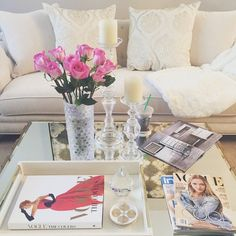 Loving @irene_lifestyle_lv's coffee table styling! Features our Olivia Sofa, Andora Pillows, Palais Coffee Table, Manta Tray, and Caprise Pillar Holders.