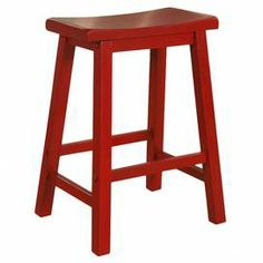 """A charming addition to your kitchen or den, this wood counter stool showcases a saddle-shaped seat and crimson red finish.     Product: Counter stool  Construction Material: Wood  Color: Crimson red    Features: Saddle-shaped seat        Dimensions: 24"""" H x 17.63"""" W x 9.13"""" D     Assembly: Some assembly required"""
