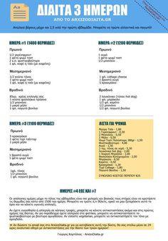 Η Δίαιτα 3 Ημερών Three Day Diet, Healthy Tips, Healthy Recipes, Hypothyroidism Diet, Lose Weight, Weight Loss, Summer Body, Stay Fit, Better Life