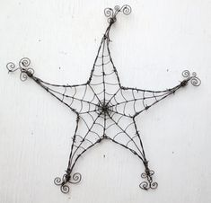 Barbed Wire Star  Spider Web Garden Decoration or Trellis via Etsy