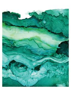Undercurrent Emerald Ink: Art Print, Ocean Art, Surf Watercolor, Abstract Watercolor