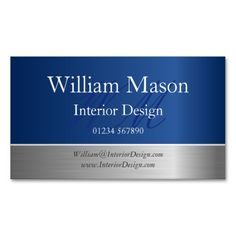blue foil and steel effect monogram business card - Accountant Business Card