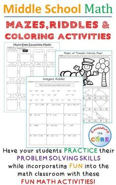 Have your students apply their understanding of grade math, grade math and grade math with these fun math activities including math mazes, math riddles and math coloring activities. Middle School Math Common Core Ratios and Proportional Reaso Math Teacher, Math Classroom, Teaching Math, Maths, Teaching Posts, Math Fractions, Classroom Displays, Fun Math Worksheets, Fun Math Activities