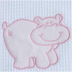 Colcha bordada HIPOPOTAMO bordado en rosa