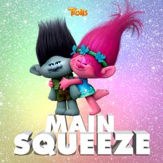Princess Poppy and Branch. The main characters in the movie Trolls.
