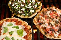 Mozzarella and Fresh Basil Grilled Pizza, Bacon, Asparagus, and Goat Cheese Grilled Pizza, and Roasted Pepper and Spicy Sausage Grilled Pizza