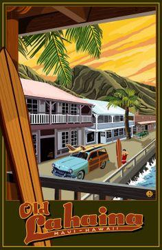 Old Lahaina Maui Hawaii Vintage Travel Poster Digital at ArtistRising.com