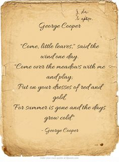 "George Cooper ""Come, little leaves,"" said the wind one..."